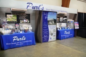 Purl's Sheet Metal & Air Conditioning booth with ductless mini splits cooling of our guests at the 2013 Business Extravaganza